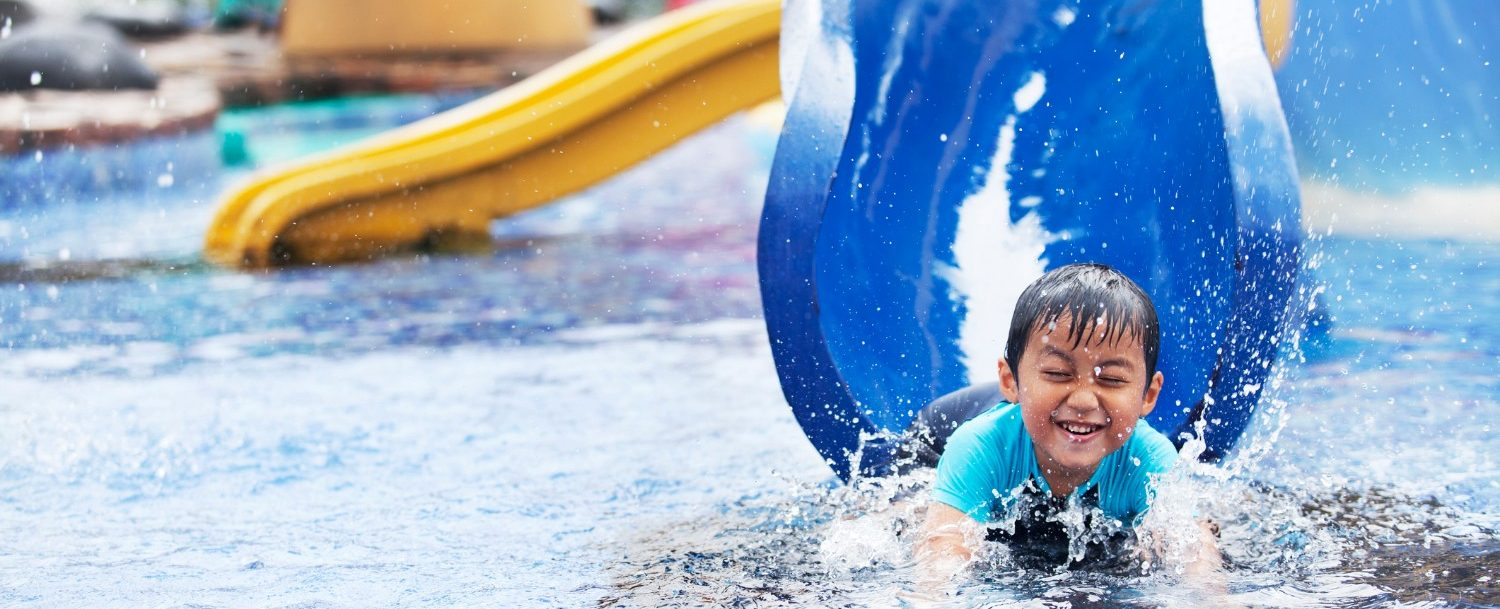kid at waterpark